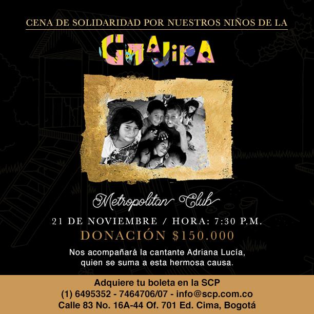 Acompáñanos en Bogotá a la Cena de Solidaridad por nuestros niños de La Guajira